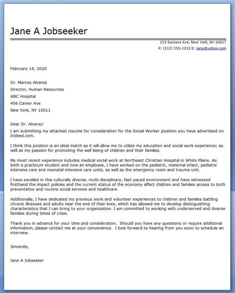 cover letter for social worker cover letter social work exles career