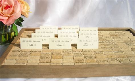 how to make wine cork place card holders wine cork wedding place card holder box tray set of 3