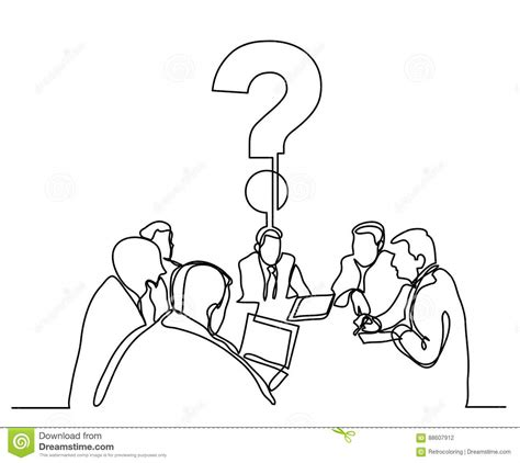 eps format line continuous line drawing of business meeting with a