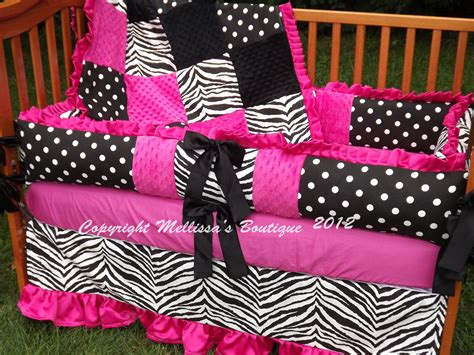 pink and black comforters custom hot pink black and white crib bedding complete 4 piece