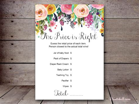 price is right bridal shower template price is right printabell create