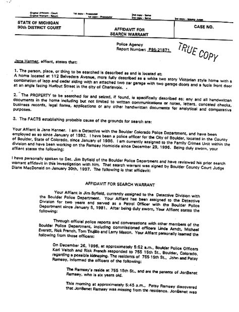 Exle Of Search Warrant Jonbenet Ramsey The Michigan Search Warrant The Gun