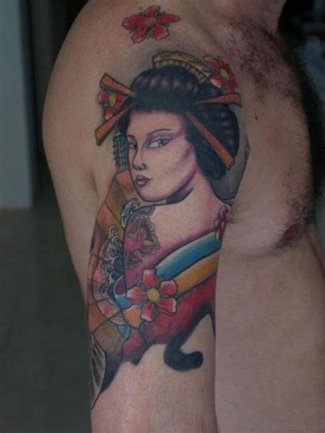 blue geisha tattoo 60 brilliant geisha tattoos on shoulder