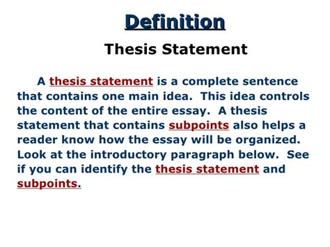 a thesis statement thesis statement