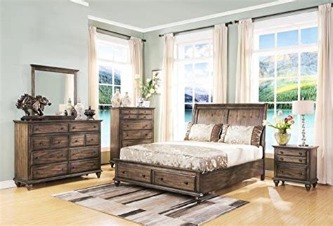 eastern king bedroom set fortuna rustic sleigh eastern king bedroom set in rustic