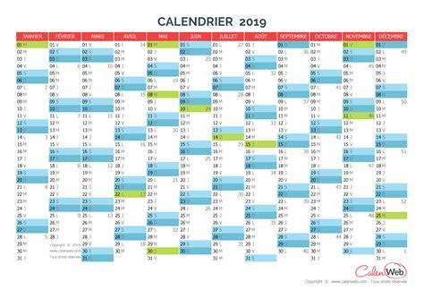 Calendrier 2019 Belgique Calendrier Annuel 233 E 2019 Avec Jours F 233 Ri 233 S