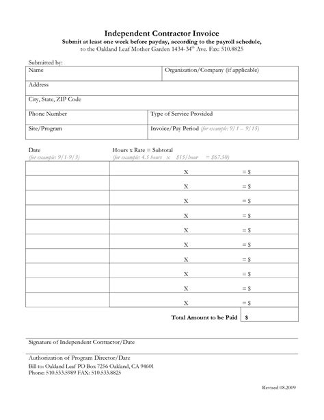 independent contractor invoice template invoice exle