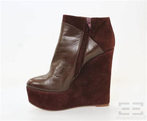 burgundy leather suede wedge heels almond toe