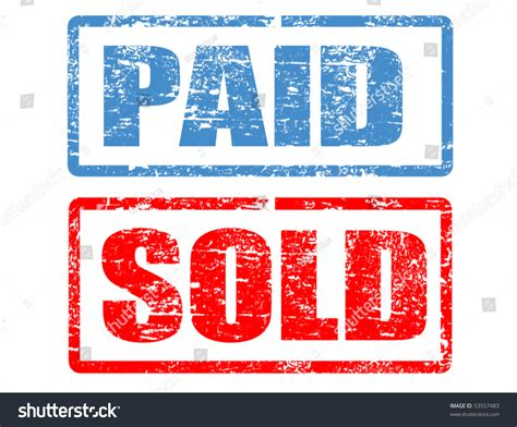 vista print rubber st grunge rubber sts word paid sold stock vector 53557483