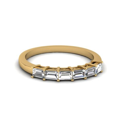 Wedding Bands Baguette Diamonds by Baguette Cut Womens Wedding Band In 14k Yellow