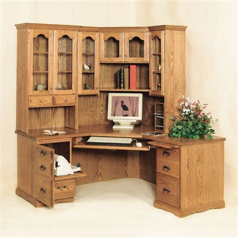 Traditional Corner Desk Hutch Amish Traditional Corner Corner Workstation Desk With Hutch