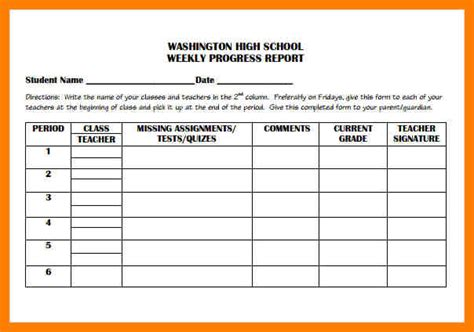 high school progress report template 5 weekly progress report template middle school joblettered