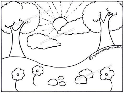 gambar mewarnai pemandangan lembah  pohon gambar mewarnai
