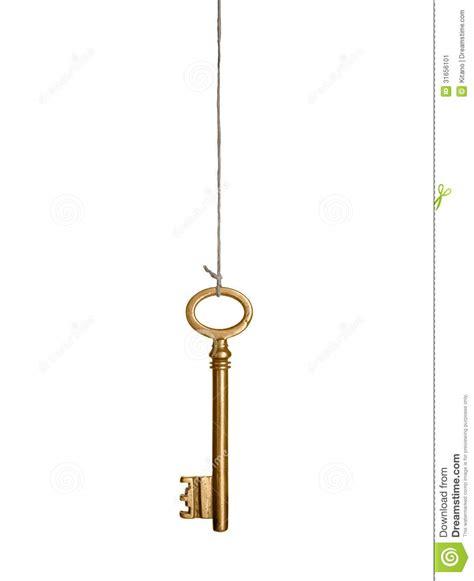 hanging gold key stock image image of cord metal rope