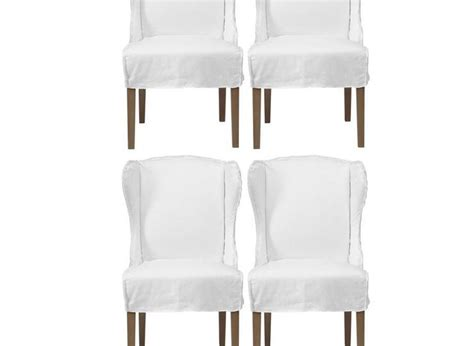 White Dining Room Chair Slipcovers Of Maddox White Slipcovers Winged Chairs With Dining Room Chair Slipcovers For Special Dinner