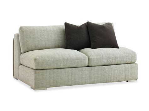 armless fabric loveseat slipcover with gray color and