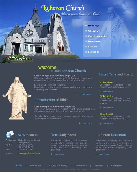 free lutheran church website template