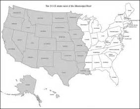 us map showing states and mississippi river the 24 states west of the mississippi presented by