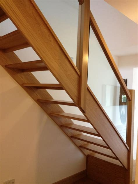 oak stair banister glass balustrade on oak open plan stairs oak stairs with