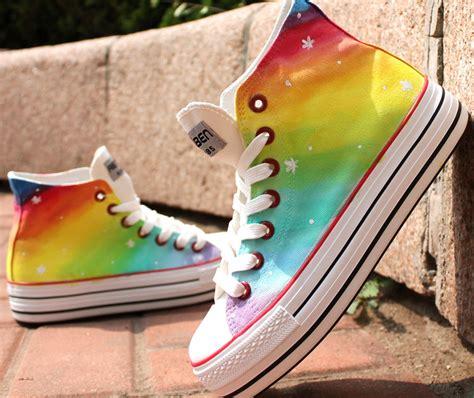diy painted canvas shoes diy painted harajuku rainbow canvas shoes on luulla
