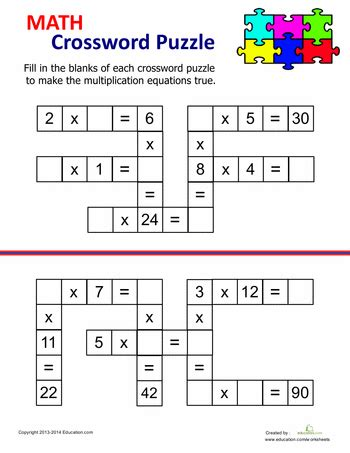 printable math games 4th grade multiplication crossword multiplication worksheets and math