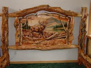 Log Bed Frames Uk Burl Aspen Log Beds With Carved Panel Log Furniture Cabin