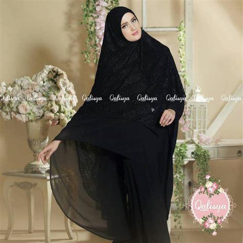 Jilbab Syari Hitam khimar jannata ori by qalisya jilbab syar i jumbo cantik terbaru