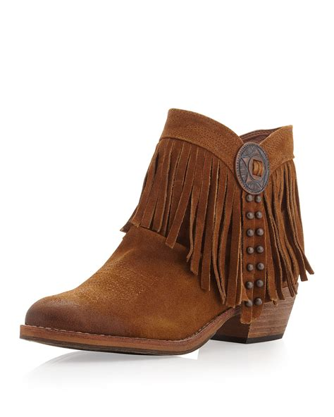 ankle boots with fringe sam edelman sideney fringe ankle boot whiskey in brown 6