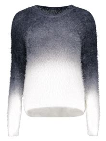 Ombre Mohair Sweater Black 2018 ombre mohair sweater in black one size zaful
