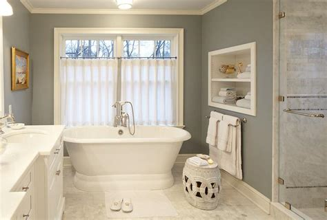 bathroom cafe curtains white and gray bathroom with rope stool transitional bathroom