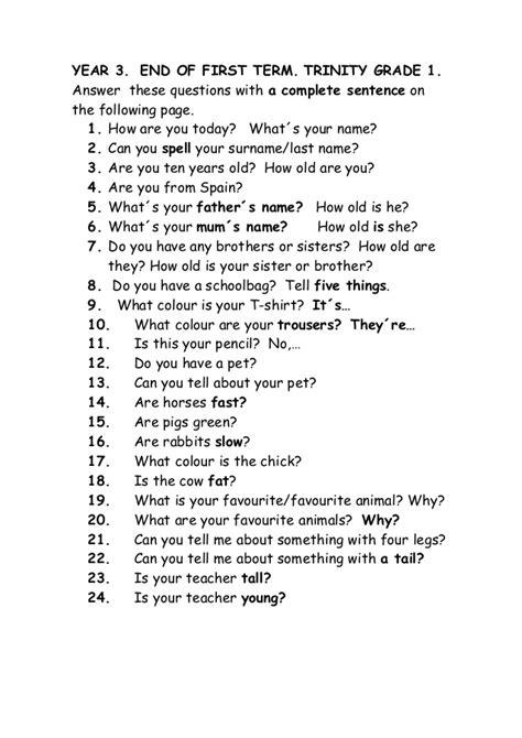 grade 1 questions
