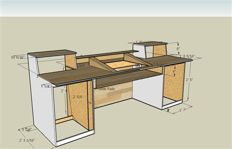Measurements For A Recording Desk Build I Think I M Going Home Studio Desk Design