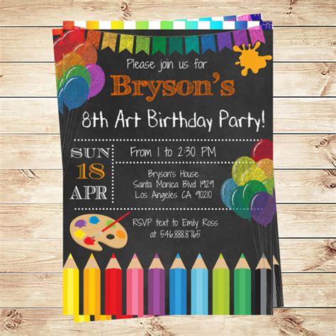 printable art party invitations art party invitations printables birthday party
