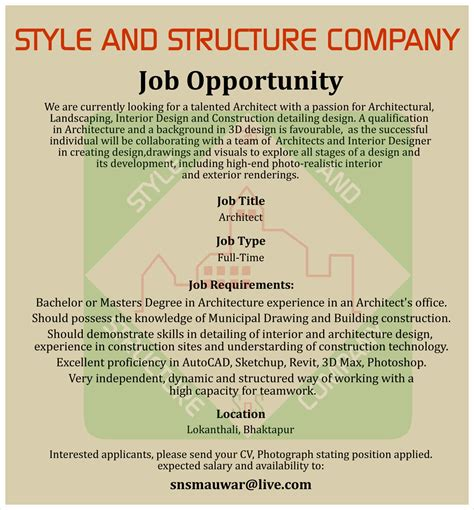 architect job vacancy  style  structure company engineer