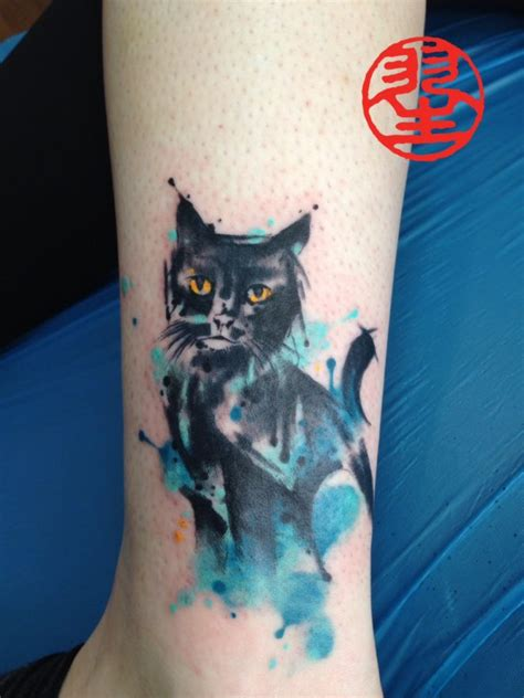 watercolor tattoo wien watercolour cat foot ankle habu san philip