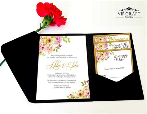 Wedding Invitations Pocket Personalized Vip Card golden flower pocket fold wedding invitation set of 10