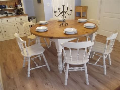 round sets vintage large round farmhouse and 6 oak chairs