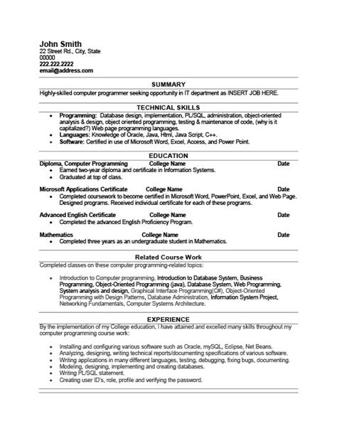 Programming Projects For Resume by Computer Programmer Sle Resume Resume Ideas