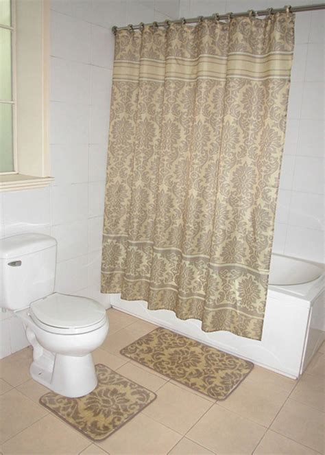 Bathroom Curtain And Rug Sets Home Dynamix Decorators Touch Shower Curtain And Bath Rug Set Damask Shower Curtain Sets