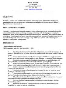 Resume Exle Objectives by Distribution Manager Executive Resume Exle