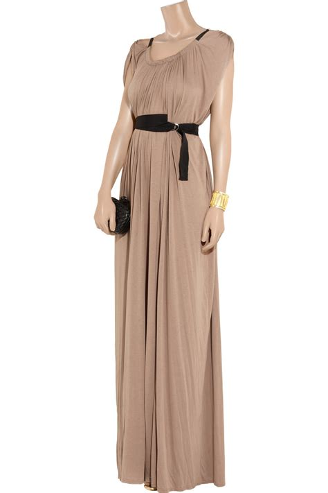 Maxi Dress Brown Belt amanda wakeley draped belted jersey maxi dress in brown