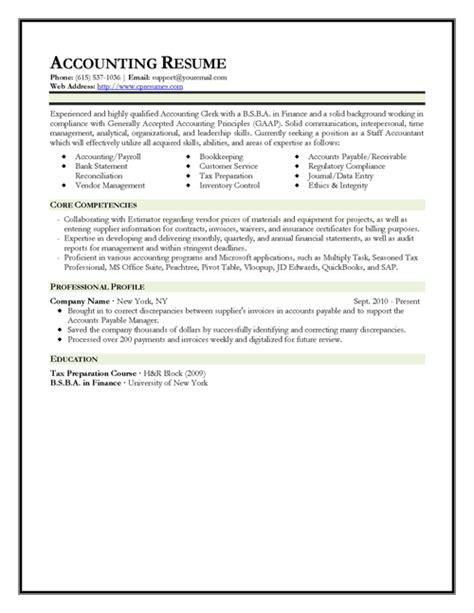 Accounting Resume Template by 301 Moved Permanently