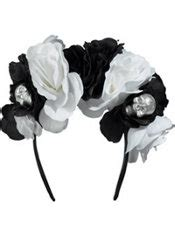 Headband Bayi Flower Bone 3 skull floral headband deluxe black bone city
