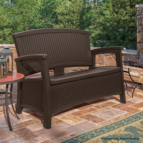 suncast patio furniture suncast elements loveseat with storage java outdoor living patio furniture benches