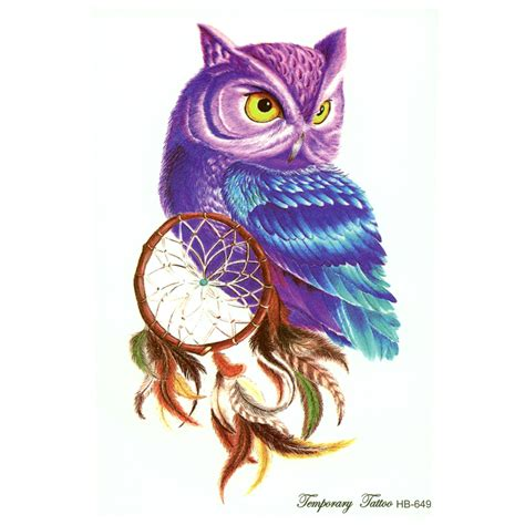 henna tattoo dye amazon 10pcs color owl temporary tattoos antique imitation
