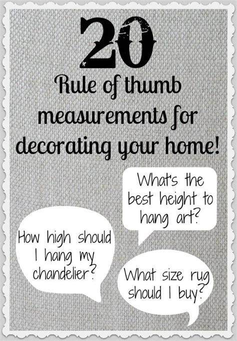 rule  thumb measurements  decorating  home