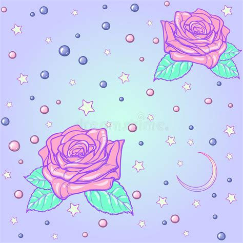 pattern pastel goth pastel goth moon and roses seamless pattern stock vector