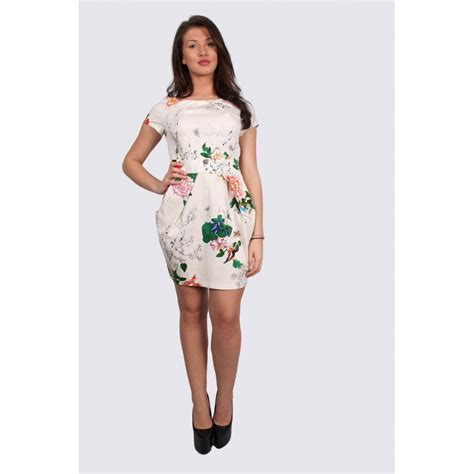 pattern tulip dress ava cream tulip dress with a floral pattern parisia