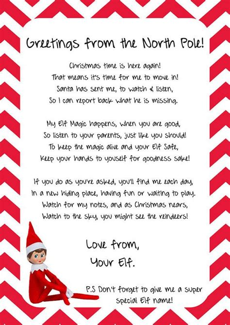 printable elf on the shelf introduction letter from santa 1000 ideas about elf goodbye letter on pinterest elf on