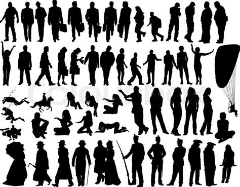 Single Family Home Plans Big Vector Collection Of Different Silhouettes People